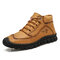 Menico Men Microfiber Leather Hand Stitching Casual Ankle Boots - Yellow Brown