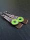 Vintage Drop Shape Women Earrings Colored Enamel Epoxy Pendant Earrings - Green