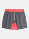DESMIIT Quick Dry Mesh Lined Drawstring Board Shorts With Liner Pouch - Grey
