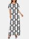 Zebra Letters Chain Print Plus Size O-neck Bohemia Dress - White#2