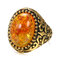 Vintage Metal Carved Rough Stone Ring Geometric Oval Cat Eye Crystal Finger Ring - 05