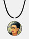 Cartoon Printed Men Women Necklace Adjustable Woman Wearing Flowers Glass Pendant Leather Necklace - #07