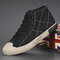 Men Stitching High Top Breathable Canvas Shoes Casual Court Sneakers - Black1