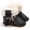 Baby Toddler Shoes Cute Lace-up Tassel Decor Comfy Plush Warm Non Slip Soft Hook Loop Snow Boots - Black