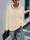Women Solid Color Long Sleeve Loose V-neck Casual Sweater - Apricot