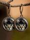 Vintage Geometric Animal Pattern Printed Women Earrings Cat Butterfly Bird Pendant Earrings - #02