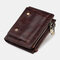 Men Genuine Leather RFID Removable Photo Case Coin Purse 13 Card Case Wallet - Brown