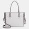 QUEENIE Casual Shopping Multifunction Handbag Ripple Shoulder Bag - Light Grey