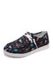 Plus Size Women Casual Floral Pattern Drawstring Breathable Comfy Flats - Black