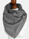 Women Cotton Houndstooth Pattern With Buckle Casual Thicken Warmth Shawl Scarf - Gray