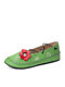 Large Size Casual Floral Butterfly Pattern Comfy Women's Hand Stitching Shoes - Green