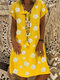 Floral Print V-neck Short Sleeve Loose Casual Dress - Yellow