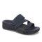 Plus Size Women Rhinestone Opened Toe Hook Loop Platform Casual Slide Sandals - Navy
