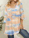 Tie Dye Print V-neck Bell Sleeve Plus Size Blouse for Women - Yellow