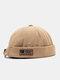 Unisex Cotton Solid Color Letter Fashion Outdoor Brimless Beanie Landlord Cap Skull Cap - Khaki