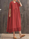 Casual Lace Patchwork Hem O-neck Plus Size Dress - Red