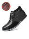 Men Microfiber Leather Rivet Lace Up Business Casual Ankle Boots - Black(Plush Lining)