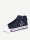 Women Retro Zipper Denim High Top Lace Up Canvas Shoes - Dark Blue