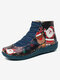 Christmas Pattern Comfort Splicing Zipper Ankle Casual Boots For Women - Blue