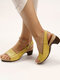 Women Large Size Casual Brief Comfortable Slingback Heeled Sandals - Yellow