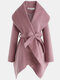 Solid Color Waistband Asymmetrical Hem Long Sleeve Casual Coat for Women - Pink