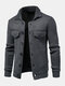 Mens Solid Color Button Front Knit Warm Casual Cardigans With Pocket - Dark Gray