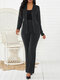 Solid Color Button Pocket Long Sleeve Casual Suit for Women - Black