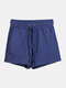 Women Pure Cotton Linen Drawstring Shorts With Pockets Breathable Outdoors Home Loungewear Bottoms - Navy
