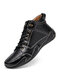 Men Hand Stitching Microfiber Leather Non Slip Soft Casual Ankle Boots - Black