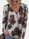 Floral Print Zipper Long Sleeves Casual Sweatshirts for Women - Gray