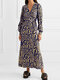 Tiger Print Knotted V-neck Casual Dress for Women - Yellow