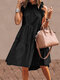 Solid Color Ruffled Collar Sleeveless Casual Pleated Dress - Black