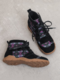 Women Casual Lace Up Ethnic Pattern Comfortable Flat Ankle Boots - Purple