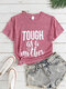 Mother' Day Letters Print O-neck Short Sleeve T-Shirt For Women - Pink