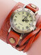 Vintage Cowhide Nicked Women Watch Roman Numeral Leather Circle Wrist Watch - Orange