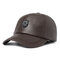 Men Solid Winter Pu Artificial Leather Baseball Cap Adjustable Bomber Hat With Ear Flaps - Brown