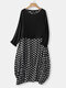 Casual Polka Dot Patchwork Two Pieces Plus Size Maxi Dress - Black