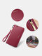 Simple Genuine Leather 6.5 Inch Anti-theft RFID Clutch Wallet Multi-card Slots Card Holder Long Purse - Wine Red