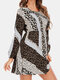 Leopard Print Contrast Color Long Sleeve Casual Dress for Women - Gray