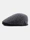 Men Knitted Solid Color Outdoor Leisure Wild Forward Hat Flat Cap - Gray