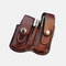 Men EDC Genuine Leather Retro Multitool Solid Waist Belt Bag - Coffee