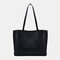 Women PU Leather Large Capacity Casual Brief Tote Shoulder Bag Handbag - Black