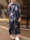 Flowers Print Split Hem Plus Size Casual Dress with Pockets - Navy