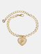 Luxury 26 English Letters Women Anklet Wild Heart Pendant Anklet Jewelry Gift - F