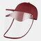 COLLROWN Transparent Detachable Sun Visor Anti-fog Cap - Wine Red