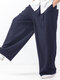 Plus Size Mens Brief Style 100% Cotton Solid Color Casual Wide Leg Pants - Navy