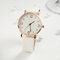 Fashion Cute Women Watches Leather Band Rose Gold Case Large Three-Hand Dial Quartz Watch - White
