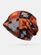 Women Cotton Plus Velvet Keep Warm Diamonds Pattern Casual Personality Elastic Beanie Hat - Orange