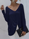 Solid Color Long Sleeve V-neck Loose Women Casual T-shirt - Navy