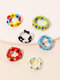 1 PC / 6 Pcs Set Brief Ins Colorful Braided Millet Bead Rings - Ring Set
